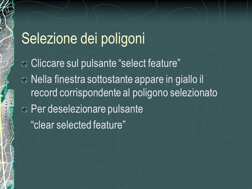 Selezione dei poligoni Cliccare sul pulsante select feature Nella finestra sottostante appare in giallo il record corrispondente al poligono selezionato Per deselezionare pulsante clear selected feature