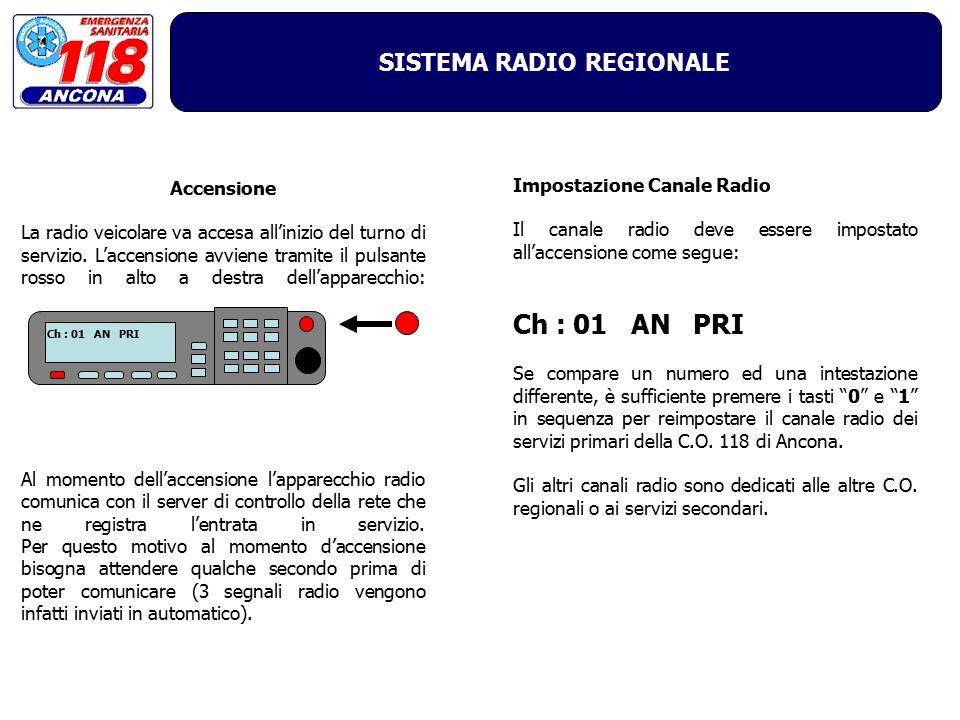 SISTEMA RADIO REGIONALE Accensione La radio veicolare va accesa all'inizio del turno di servizio. L'accensione avviene tramite il pulsante rosso in al
