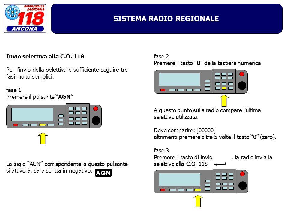 SISTEMA RADIO REGIONALE Invio selettiva alla C.O. 118 Per l'invio della selettiva è sufficiente seguire tre fasi molto semplici: fase 1 Premere il pul