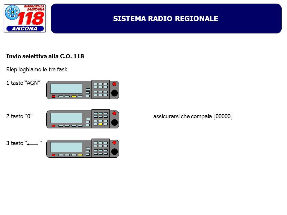"""SISTEMA RADIO REGIONALE Invio selettiva alla C.O. 118 Riepiloghiamo le tre fasi: 1 tasto """"AGN"""" 2 tasto """"0"""" 3 tasto """" """" assicurarsi che compaia [00000]"""