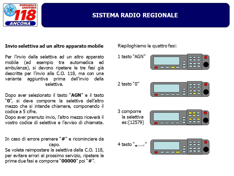 SISTEMA RADIO REGIONALE In caso di errore: Per azzerare un eventuale errore è sufficiente comporre # .