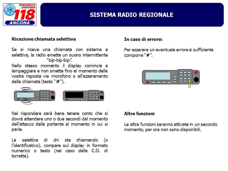 """SISTEMA RADIO REGIONALE In caso di errore: Per azzerare un eventuale errore è sufficiente comporre """"#"""". Altre funzioni Le altre funzioni saranno attiv"""