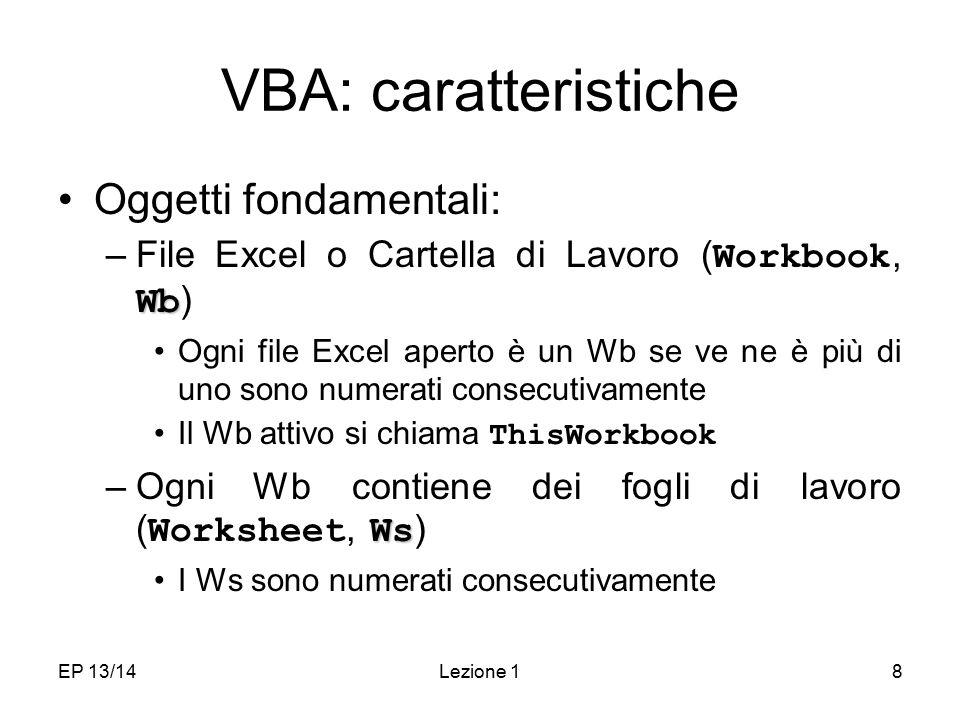 EP 13/14Lezione 18 VBA: caratteristiche Oggetti fondamentali: Wb –File Excel o Cartella di Lavoro ( Workbook, Wb ) Ogni file Excel aperto è un Wb se ve ne è più di uno sono numerati consecutivamente Il Wb attivo si chiama ThisWorkbook Ws –Ogni Wb contiene dei fogli di lavoro ( Worksheet, Ws ) I Ws sono numerati consecutivamente