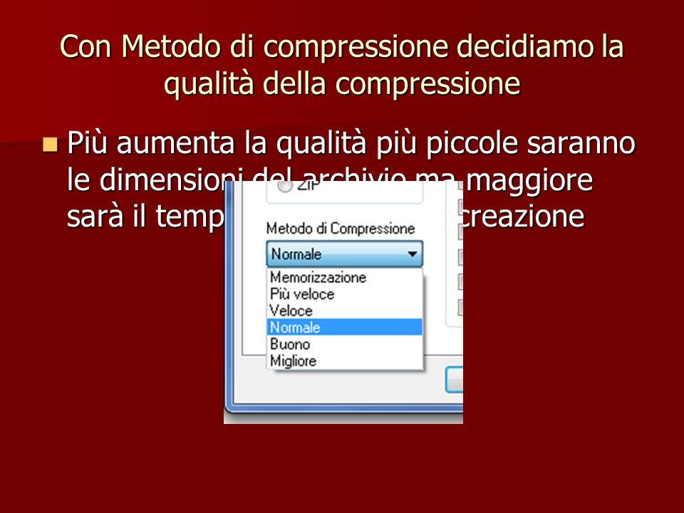 Con Metodo di compressione decidiamo la qualità della compressione Più aumenta la qualità più piccole saranno le dimensioni del archivio ma maggiore s