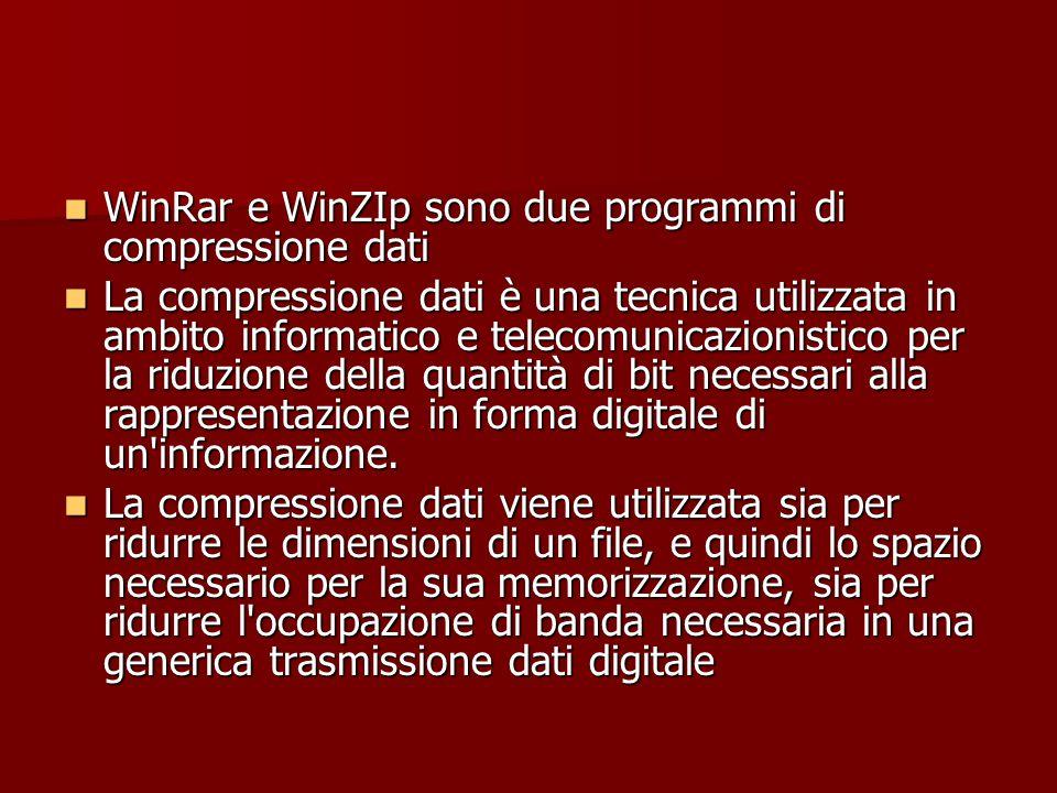 WinRar e WinZIp sono due programmi di compressione dati WinRar e WinZIp sono due programmi di compressione dati La compressione dati è una tecnica uti