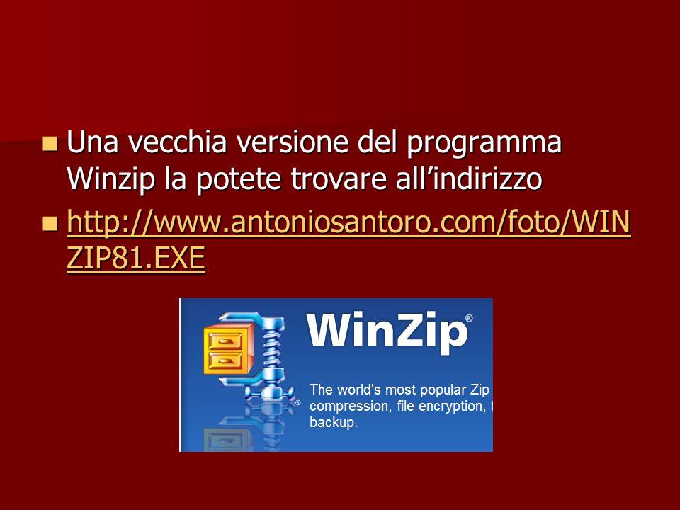 Una vecchia versione del programma Winzip la potete trovare all'indirizzo Una vecchia versione del programma Winzip la potete trovare all'indirizzo ht