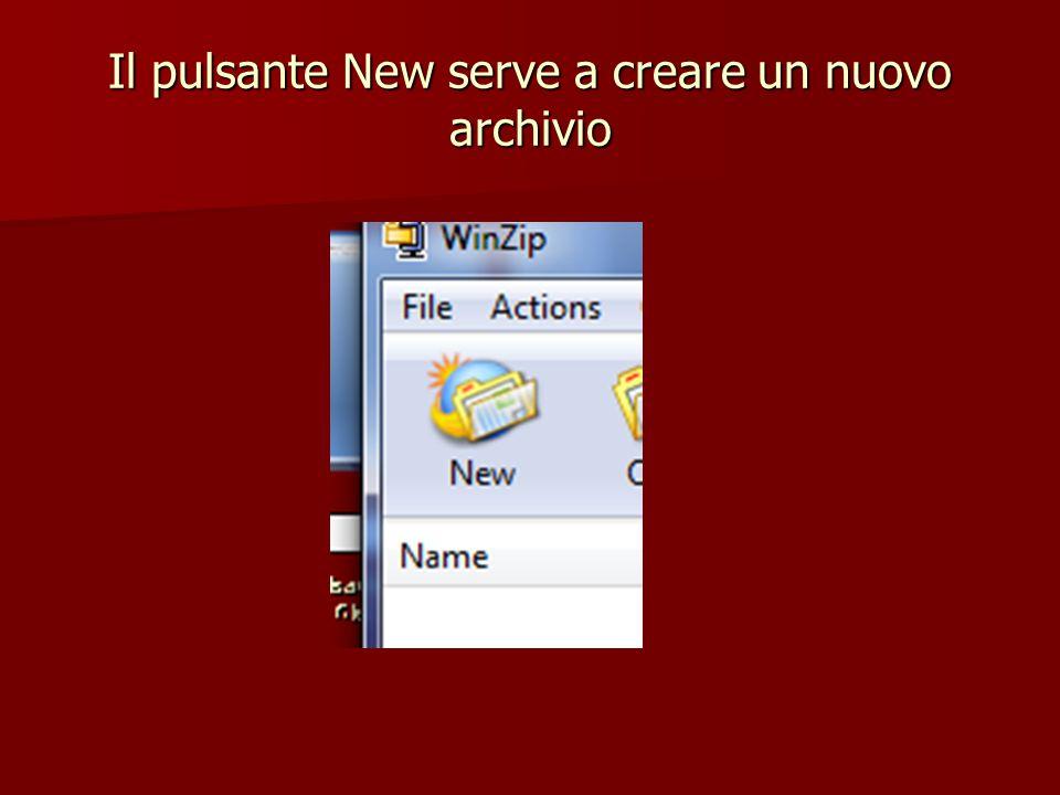 Il pulsante New serve a creare un nuovo archivio
