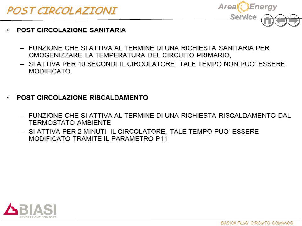 BASICA PLUS: CIRCUITO COMANDO Service POST CIRCOLAZIONI POST CIRCOLAZIONE SANITARIAPOST CIRCOLAZIONE SANITARIA –FUNZIONE CHE SI ATTIVA AL TERMINE DI UNA RICHIESTA SANITARIA PER OMOGENIZZARE LA TEMPERATURA DEL CIRCUITO PRIMARIO, –SI ATTIVA PER 10 SECONDI IL CIRCOLATORE, TALE TEMPO NON PUO' ESSERE MODIFICATO.
