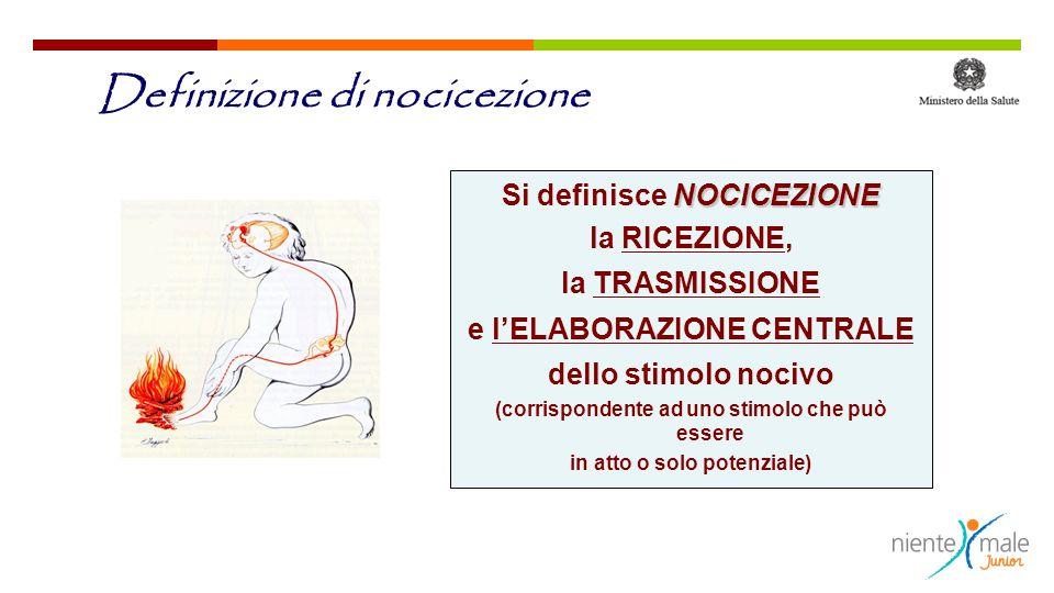 NOCICEZIONE Si definisce NOCICEZIONE la RICEZIONE, la TRASMISSIONE e l'ELABORAZIONE CENTRALE dello stimolo nocivo (corrispondente ad uno stimolo che p