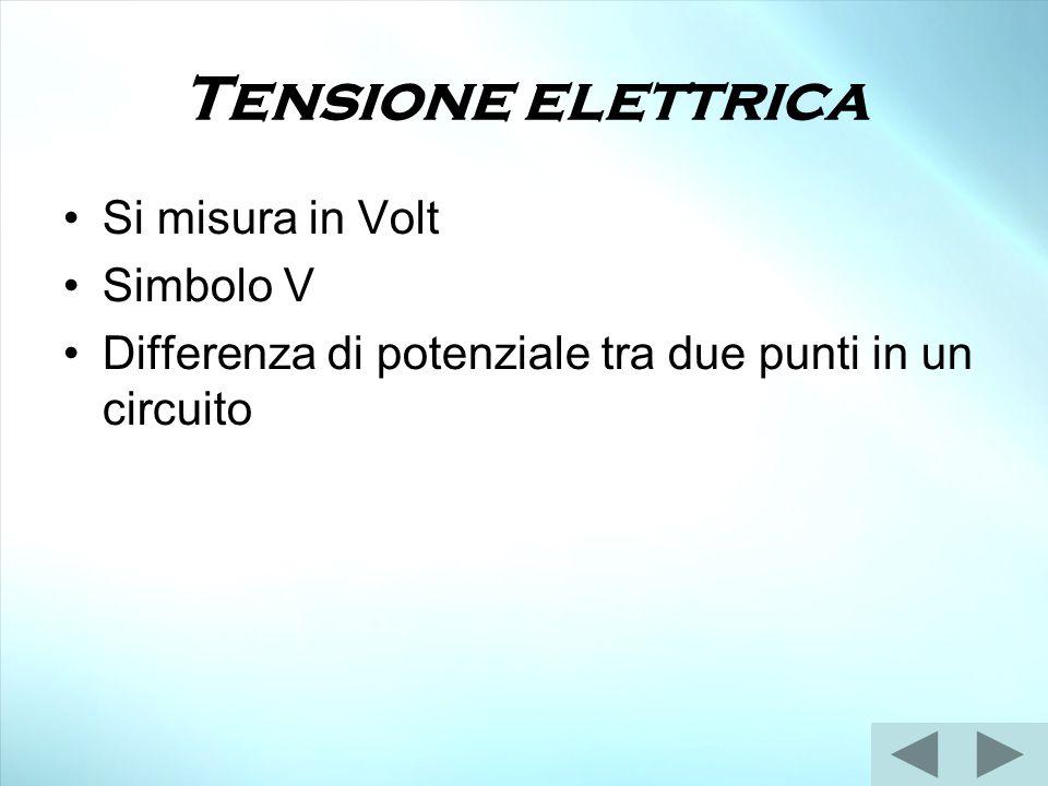 Tensione elettrica Si misura in Volt Simbolo V Differenza di potenziale tra due punti in un circuito