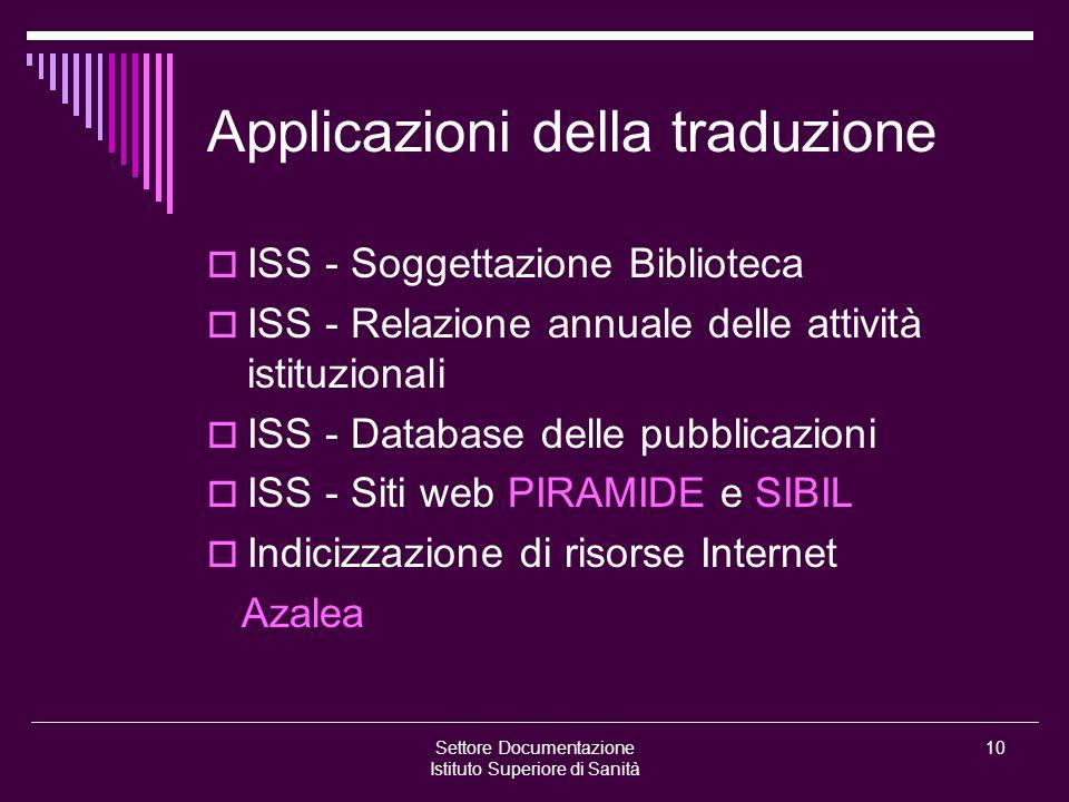 Settore Documentazione Istituto Superiore di Sanità 10 Applicazioni della traduzione  ISS - Soggettazione Biblioteca  ISS - Relazione annuale delle