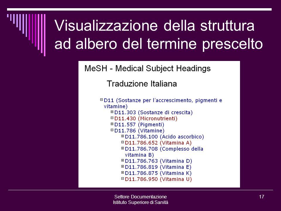 Settore Documentazione Istituto Superiore di Sanità 17 Visualizzazione della struttura ad albero del termine prescelto