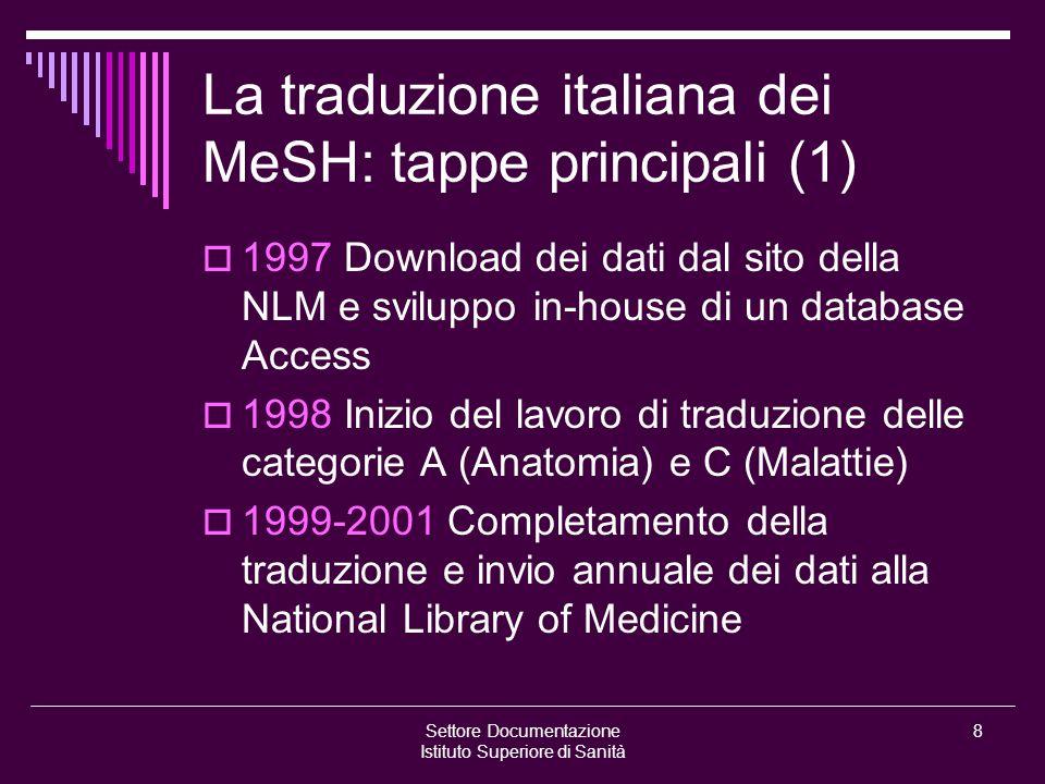 Settore Documentazione Istituto Superiore di Sanità 8 La traduzione italiana dei MeSH: tappe principali (1)  1997 Download dei dati dal sito della NL