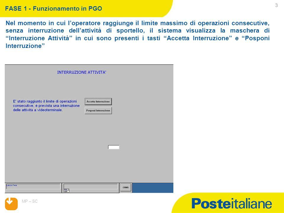 07/04/2015 MP – SC 4 FASE 1 - Funzionamento in PGO Premendo il tasto Accetta interruzione la maschera si chiude e viene visualizzato il menu di default.