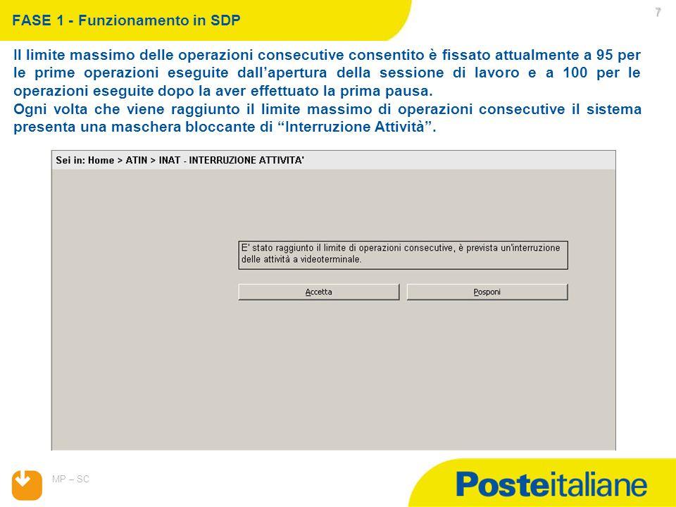 07/04/2015 MP – SC 8 La selezione di Accetta Interruzione interrompe e fa ripartire da 0 il conteggio delle operazioni consecutive.