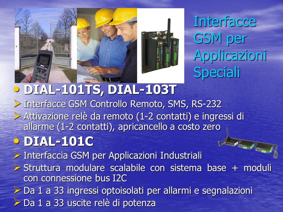 DIAL-101TS, DIAL-103T DIAL-101TS, DIAL-103T  Interfacce GSM Controllo Remoto, SMS, RS-232  Attivazione relè da remoto (1-2 contatti) e ingressi di a