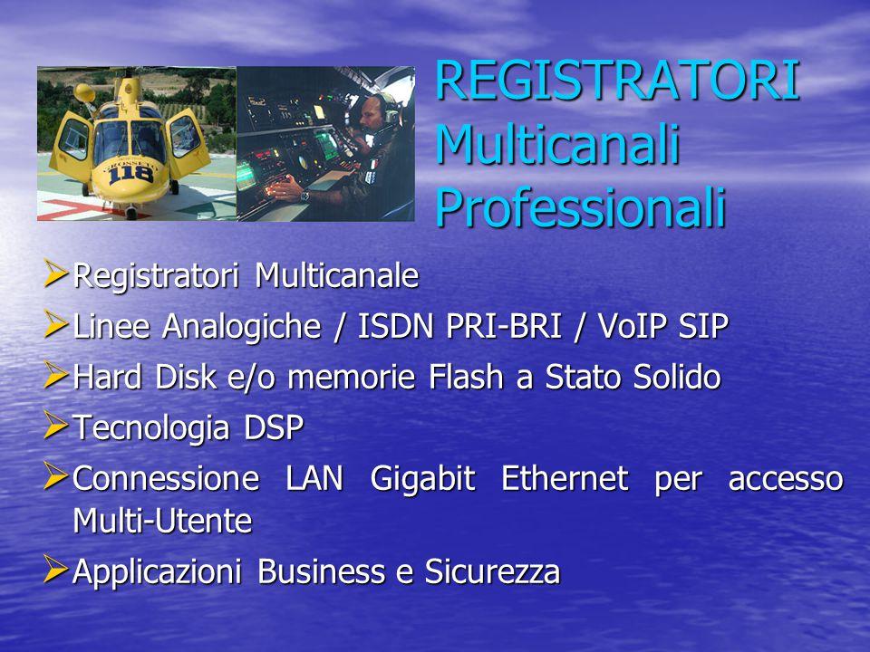 REGISTRATORI Multicanali Professionali  Registratori Multicanale  Linee Analogiche / ISDN PRI-BRI / VoIP SIP  Hard Disk e/o memorie Flash a Stato S