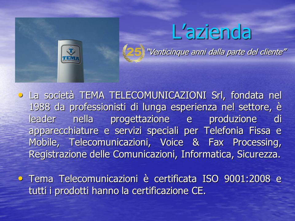 L'azienda La società TEMA TELECOMUNICAZIONI Srl, fondata nel 1988 da professionisti di lunga esperienza nel settore, è leader nella progettazione e pr