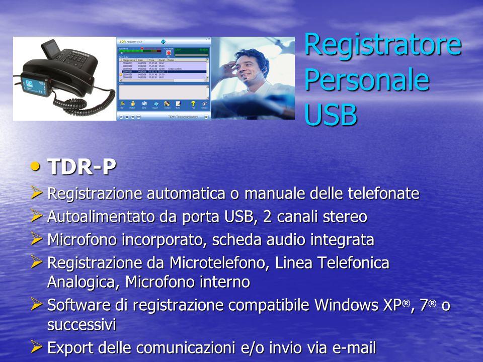 Registratore Personale USB TDR-P TDR-P  Registrazione automatica o manuale delle telefonate  Autoalimentato da porta USB, 2 canali stereo  Microfon