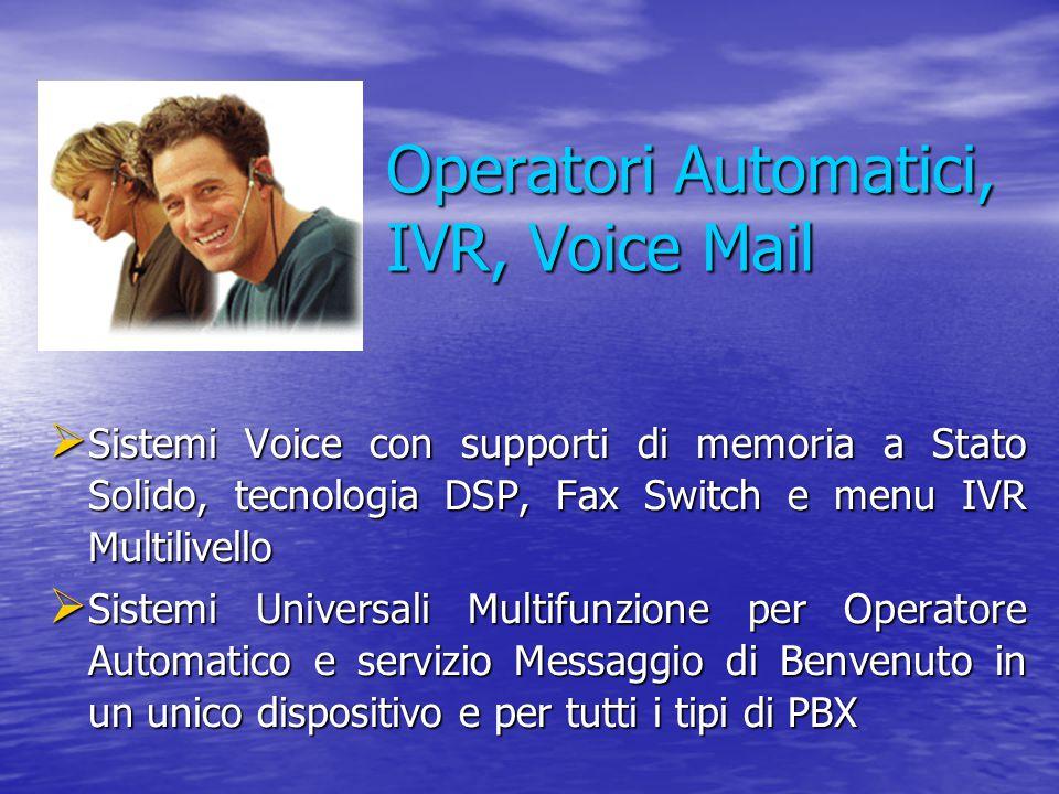 Operatori Automatici, IVR, Voice Mail  Sistemi Voice con supporti di memoria a Stato Solido, tecnologia DSP, Fax Switch e menu IVR Multilivello  Sis