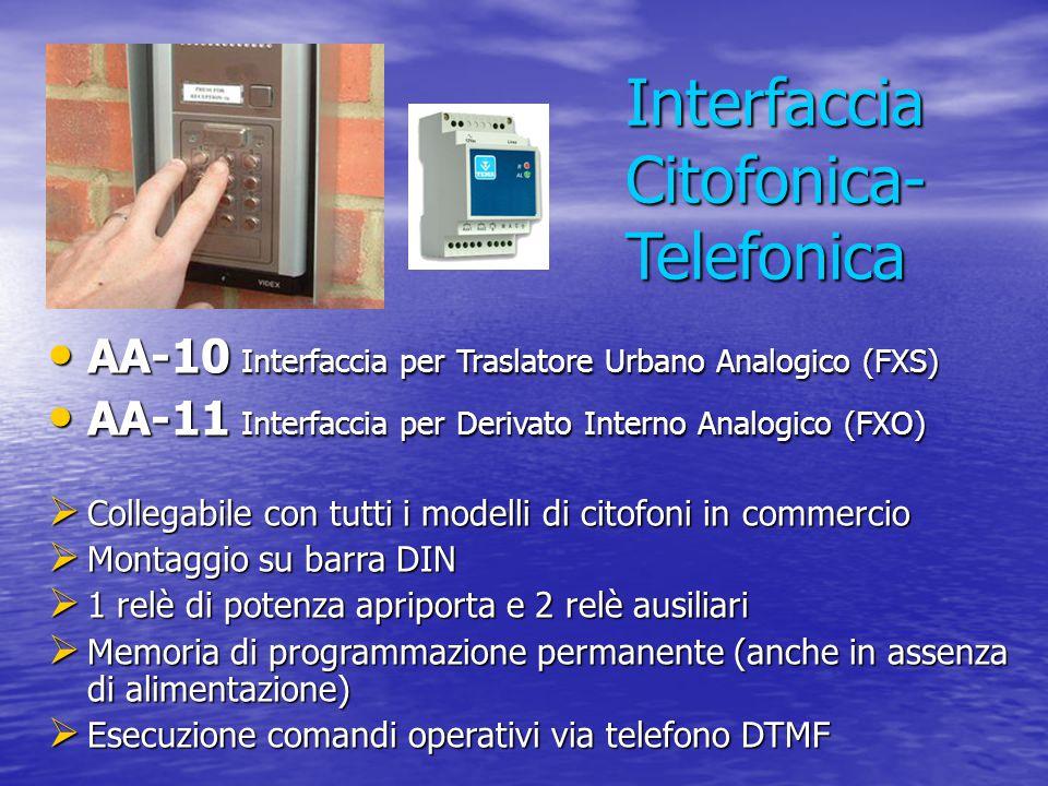 Interfaccia Citofonica- Telefonica AA-10 Interfaccia per Traslatore Urbano Analogico (FXS) AA-10 Interfaccia per Traslatore Urbano Analogico (FXS) AA-