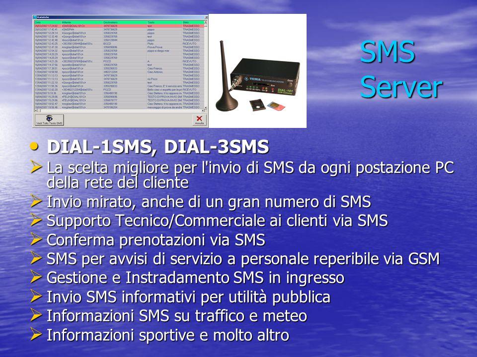 SMS Server DIAL-1SMS, DIAL-3SMS DIAL-1SMS, DIAL-3SMS  La scelta migliore per l'invio di SMS da ogni postazione PC della rete del cliente  Invio mira
