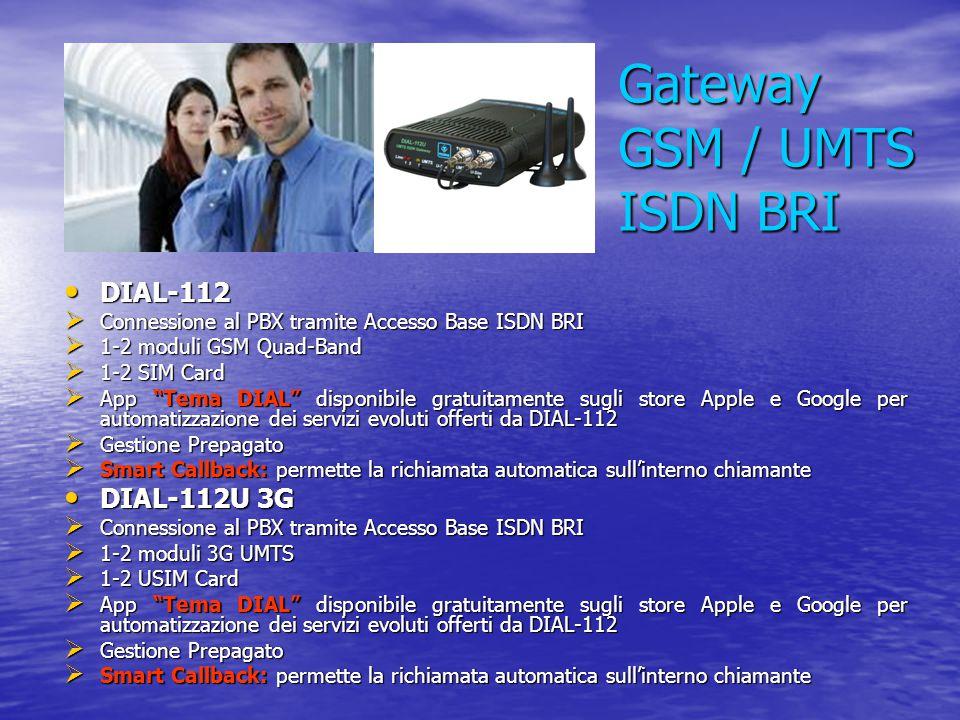 Gateway GSM / UMTS VoIP SIP DIAL-113 IP DIAL-113 IP  Connessione al PBX tramite rete LAN IP  1-2 moduli GSM - 3G UMTS (a seconda del modello)  1-2 SIM-USIM card (a seconda del modello)  App Tema DIAL disponibile gratuitamente sugli store Apple e Google per automatizzazione dei servizi evoluti offerti da DIAL-113  SMS Server: per inviare e ricevere SMS direttamente dal proprio PC usando il proprio software client di posta elettronica  Gestione Prepagato  Smart Callback: permette la richiamata automatica sull'interno chiamante  SMS Callback: per invio di un SMS a fronte di mancata risposta o chiamato occupato  DISA service: selezione diretta del derivato interno tramite DTMF  DISA Callback service: selezione diretta del derivato interno tramite DTMF con richiamata da parte del dispositivo  2 contatti di ingresso e 2 contatti relè interni (opzionali)