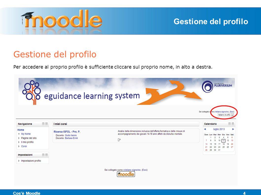 Gestione del profilo Per accedere al proprio profilo è sufficiente cliccare sul proprio nome, in alto a destra.