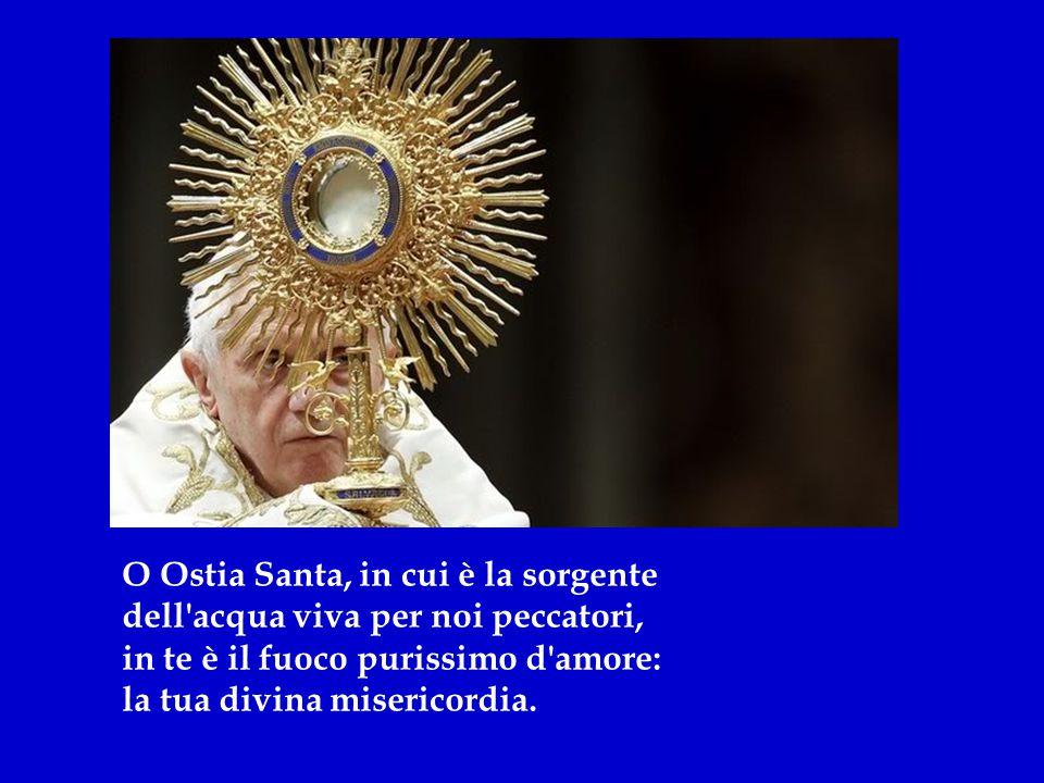 O Ostia Santa, in cui è il testamento della divina tua grande misericordia, in cui è il corpo e il sangue del Signore, segno d'amore per noi peccatori