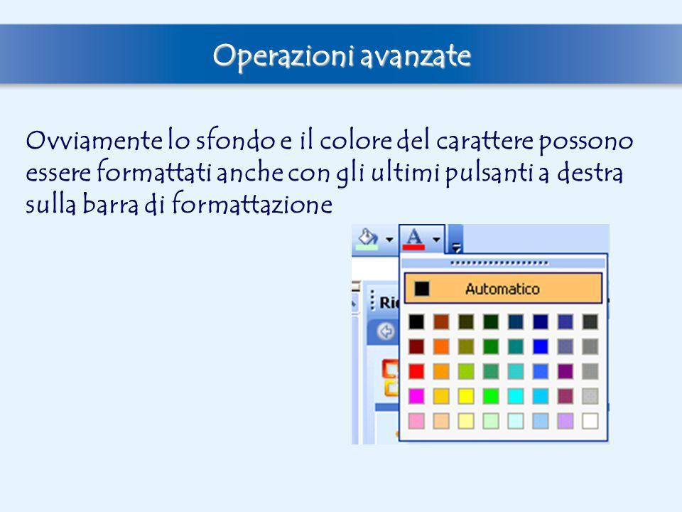 Operazioni avanzate Ovviamente lo sfondo e il colore del carattere possono essere formattati anche con gli ultimi pulsanti a destra sulla barra di for