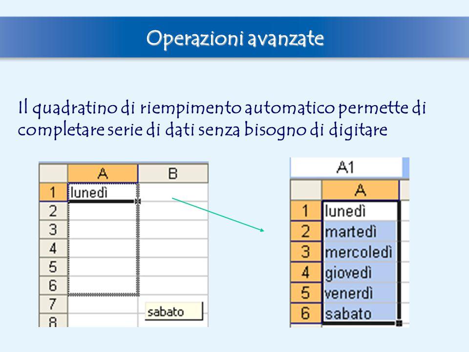 Operazioni avanzate Il quadratino di riempimento automatico permette di completare serie di dati senza bisogno di digitare