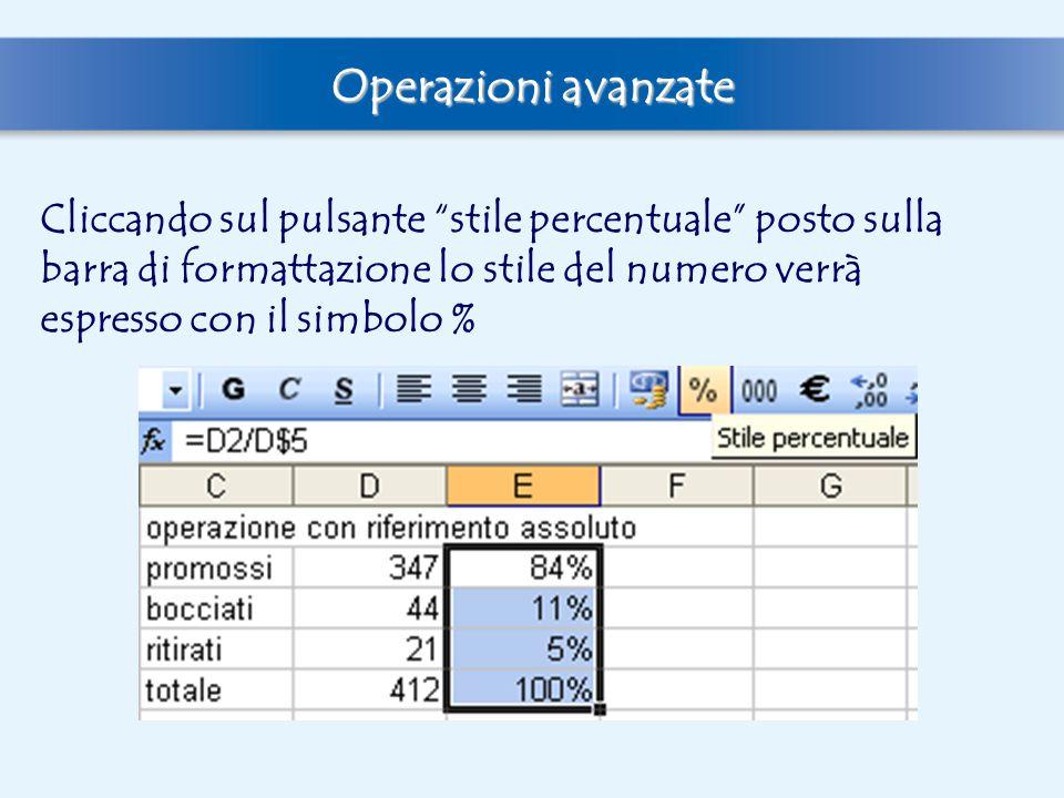 """Operazioni avanzate Cliccando sul pulsante """"stile percentuale"""" posto sulla barra di formattazione lo stile del numero verrà espresso con il simbolo %"""