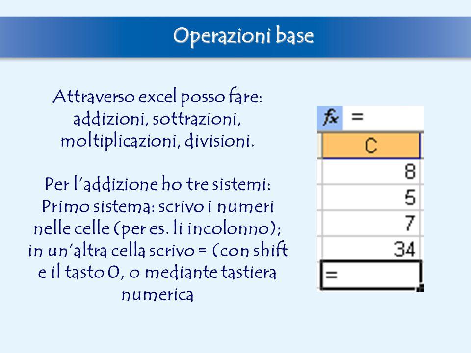 Poi scrivo le coordinate delle celle con i numeri che voglio sommare in successione, seguiti dal segno dell'operazione (A6+ A7+ A8).