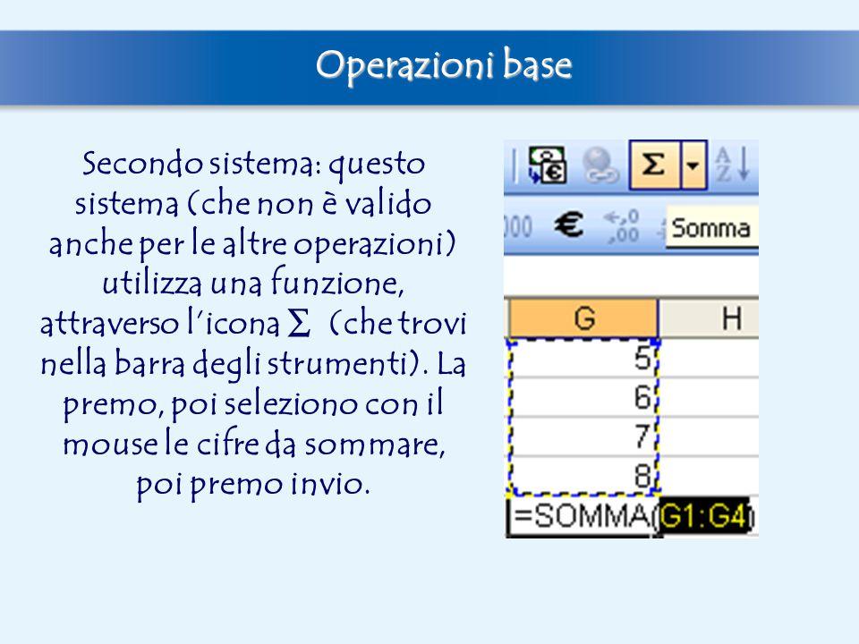 Secondo sistema: questo sistema (che non è valido anche per le altre operazioni) utilizza una funzione, attraverso l'icona ∑ (che trovi nella barra de