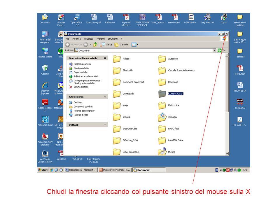 Chiudi la finestra cliccando col pulsante sinistro del mouse sulla X
