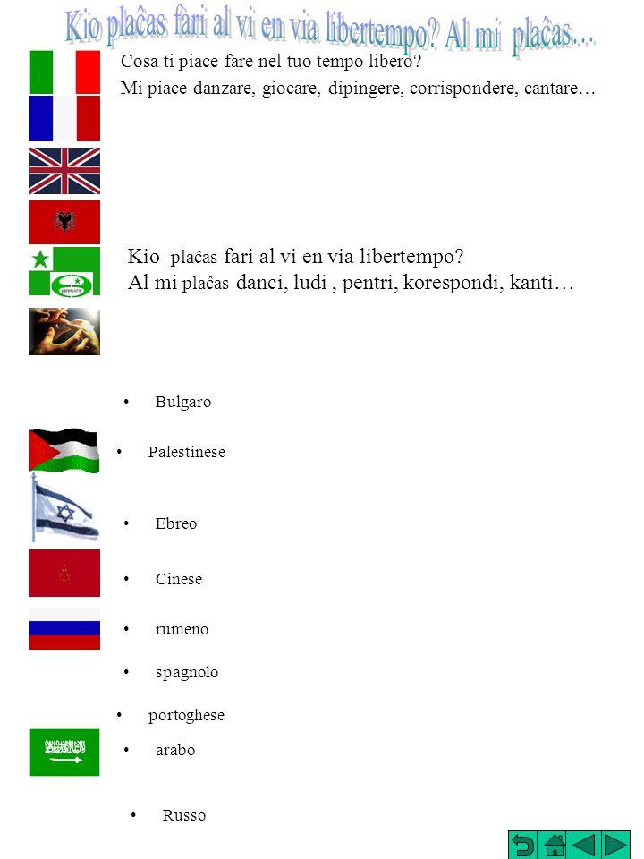 Dove abiti? Io abito a Modena, in via Ciro Menotti, 125 Kie vi loĝas? Mi loĝas en Modeno, strato Ciro Menotti, 125 Palestinese Russo Ebreo Cinese arab