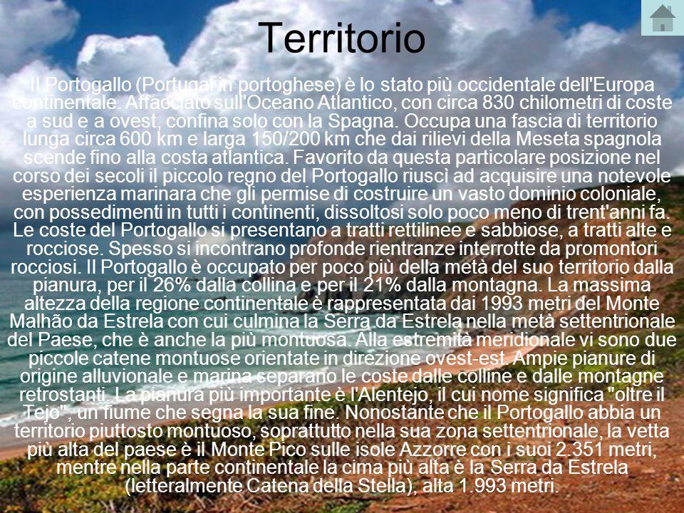 Territorio Il Portogallo (Portugal in portoghese) è lo stato più occidentale dell'Europa continentale. Affacciato sull'Oceano Atlantico, con circa 830
