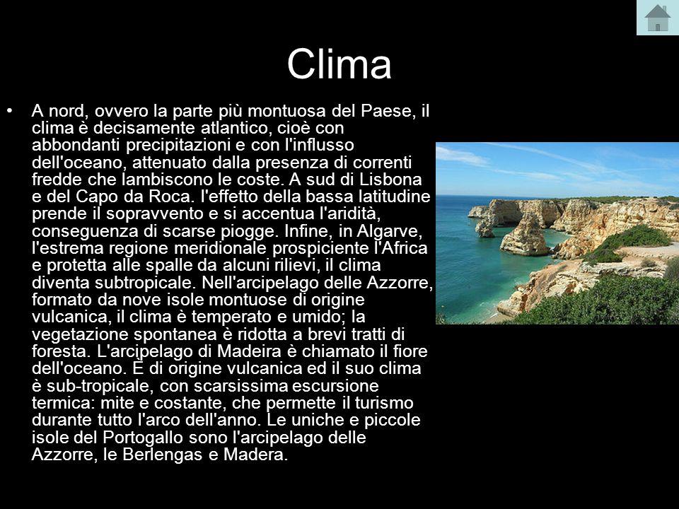 Clima A nord, ovvero la parte più montuosa del Paese, il clima è decisamente atlantico, cioè con abbondanti precipitazioni e con l'influsso dell'ocean