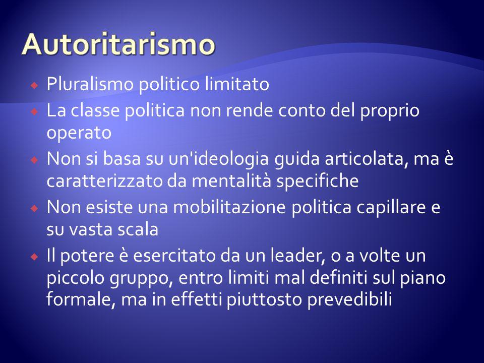  Pluralismo politico limitato  La classe politica non rende conto del proprio operato  Non si basa su un'ideologia guida articolata, ma è caratteri