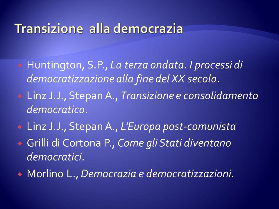  Huntington, S.P., La terza ondata. I processi di democratizzazione alla fine del XX secolo.  Linz J.J., Stepan A., Transizione e consolidamento dem