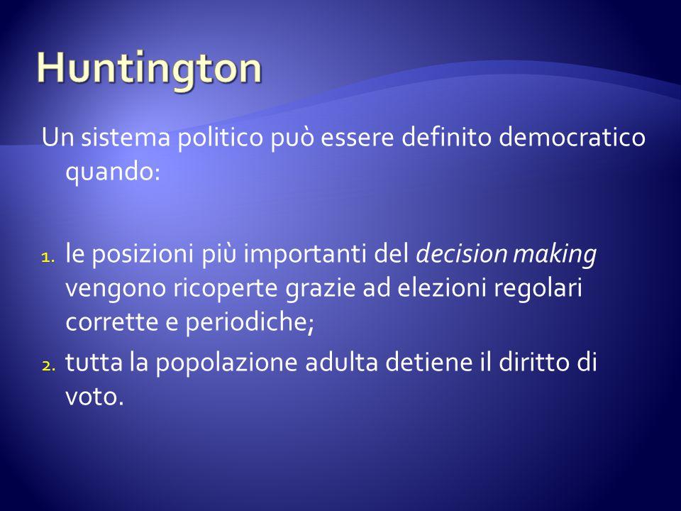 Un sistema politico può essere definito democratico quando: 1. le posizioni più importanti del decision making vengono ricoperte grazie ad elezioni re