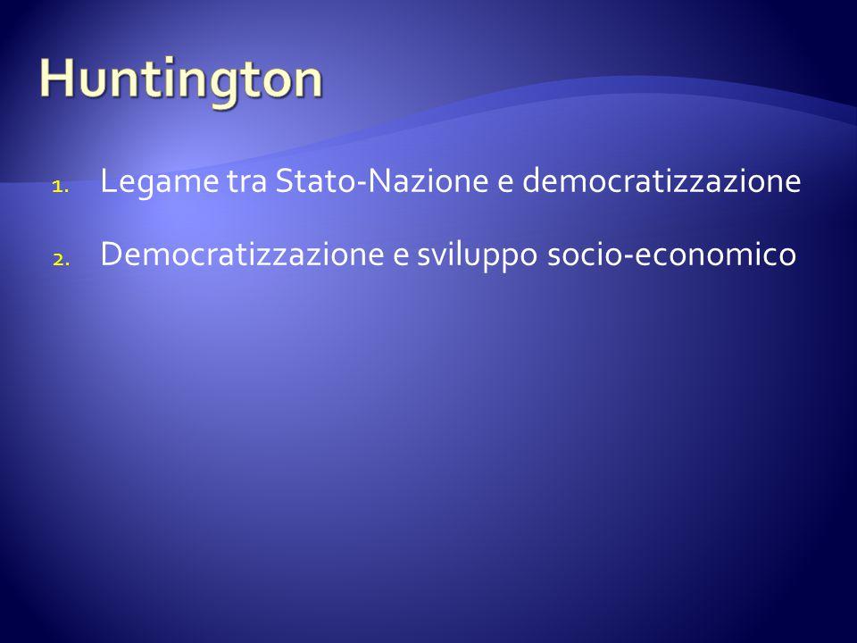 1. Legame tra Stato-Nazione e democratizzazione 2. Democratizzazione e sviluppo socio-economico