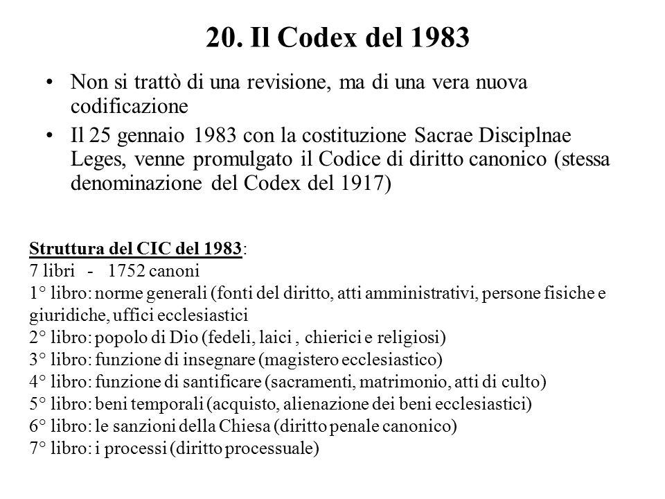 20. Il Codex del 1983 Non si trattò di una revisione, ma di una vera nuova codificazione Il 25 gennaio 1983 con la costituzione Sacrae Disciplnae Lege