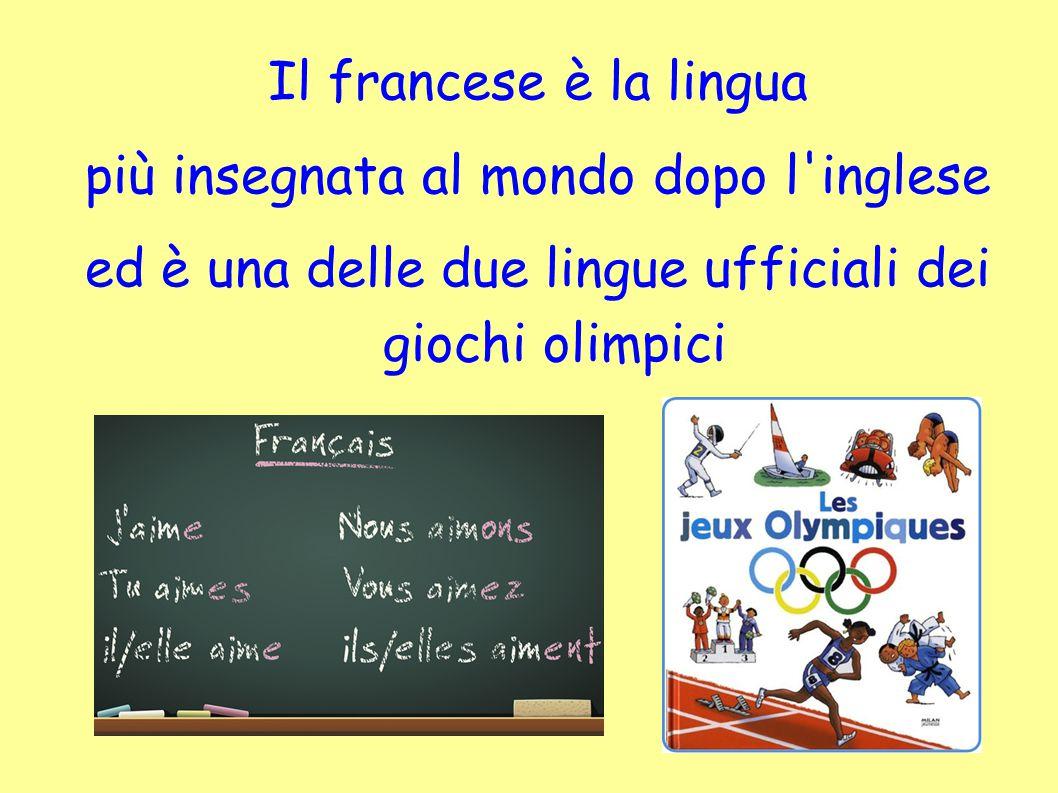 Il francese è la lingua più insegnata al mondo dopo l'inglese ed è una delle due lingue ufficiali dei giochi olimpici