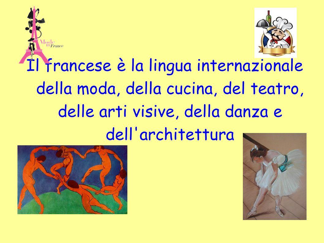 Il francese è la lingua internazionale della moda, della cucina, del teatro, delle arti visive, della danza e dell'architettura