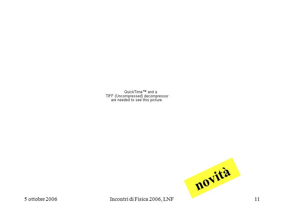 5 ottobre 2006Incontri di Fisica 2006, LNF11 novità