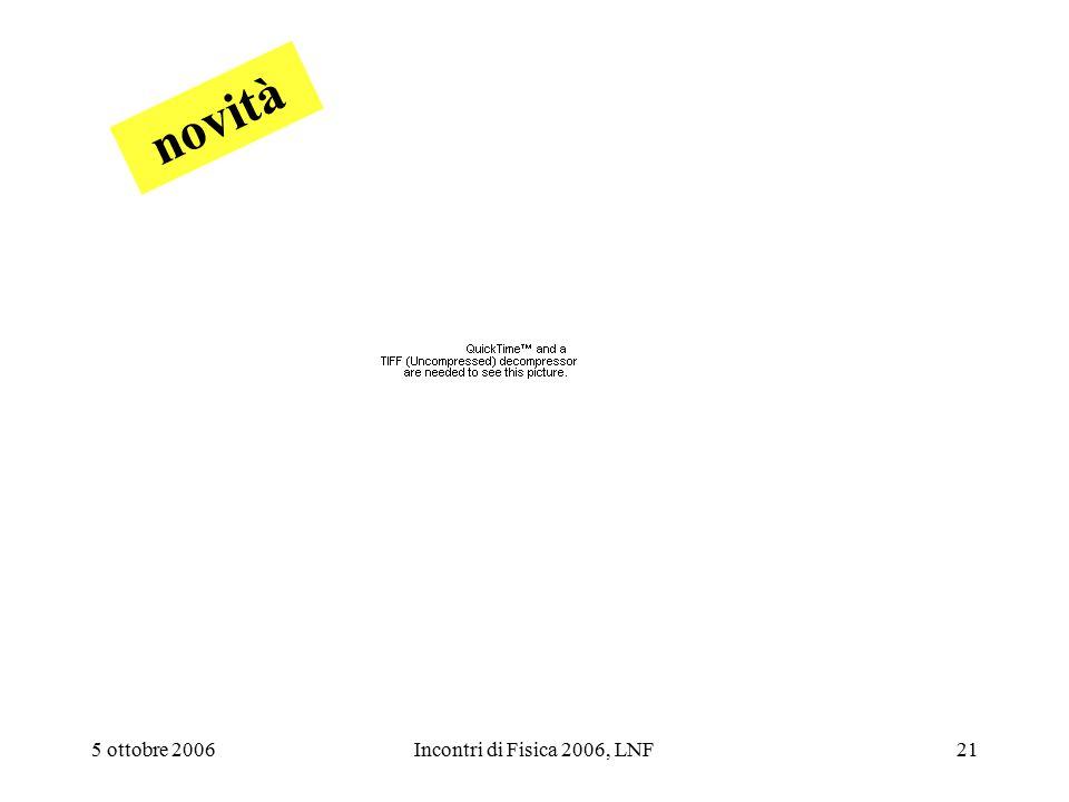 5 ottobre 2006Incontri di Fisica 2006, LNF21 novità