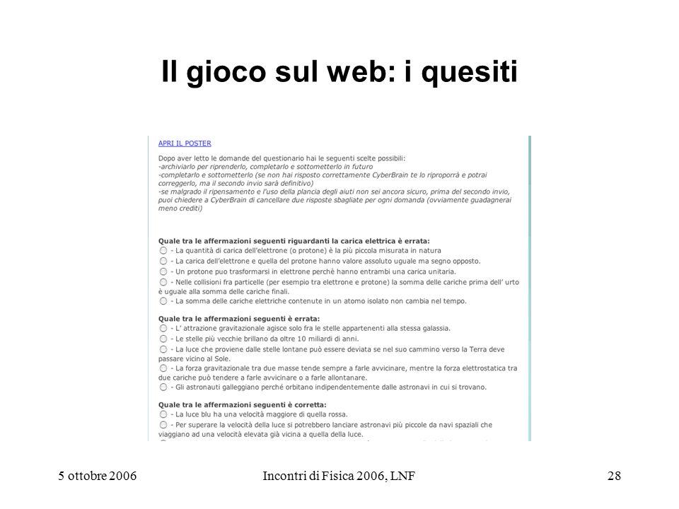 5 ottobre 2006Incontri di Fisica 2006, LNF28 Il gioco sul web: i quesiti