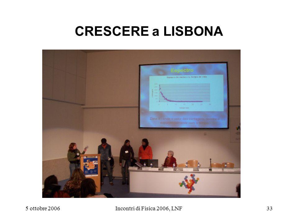 5 ottobre 2006Incontri di Fisica 2006, LNF33 CRESCERE a LISBONA