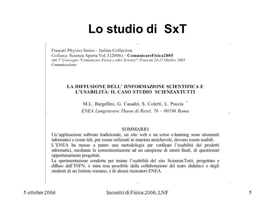 5 ottobre 2006Incontri di Fisica 2006, LNF5 Lo studio di SxT
